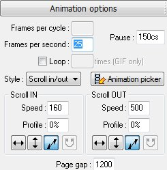 Вкладка Animation options (Опции анимации)