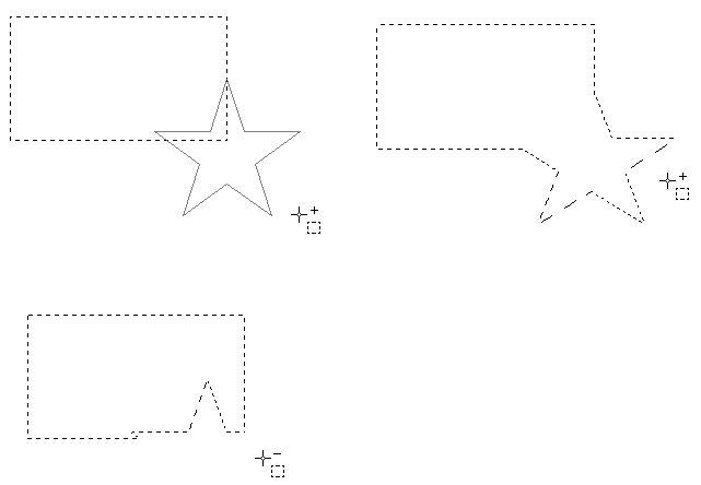 Пересекающиеся выделенные области (исходные, добавление, вычитание)